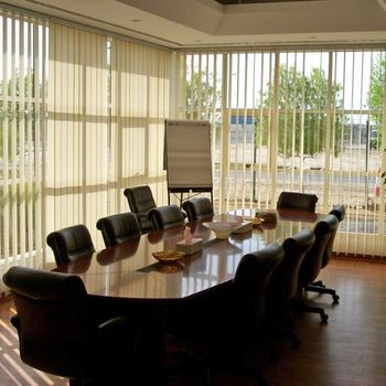 view of a meeting room with installed shutters