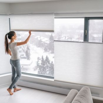 woman standing beside windows with shades